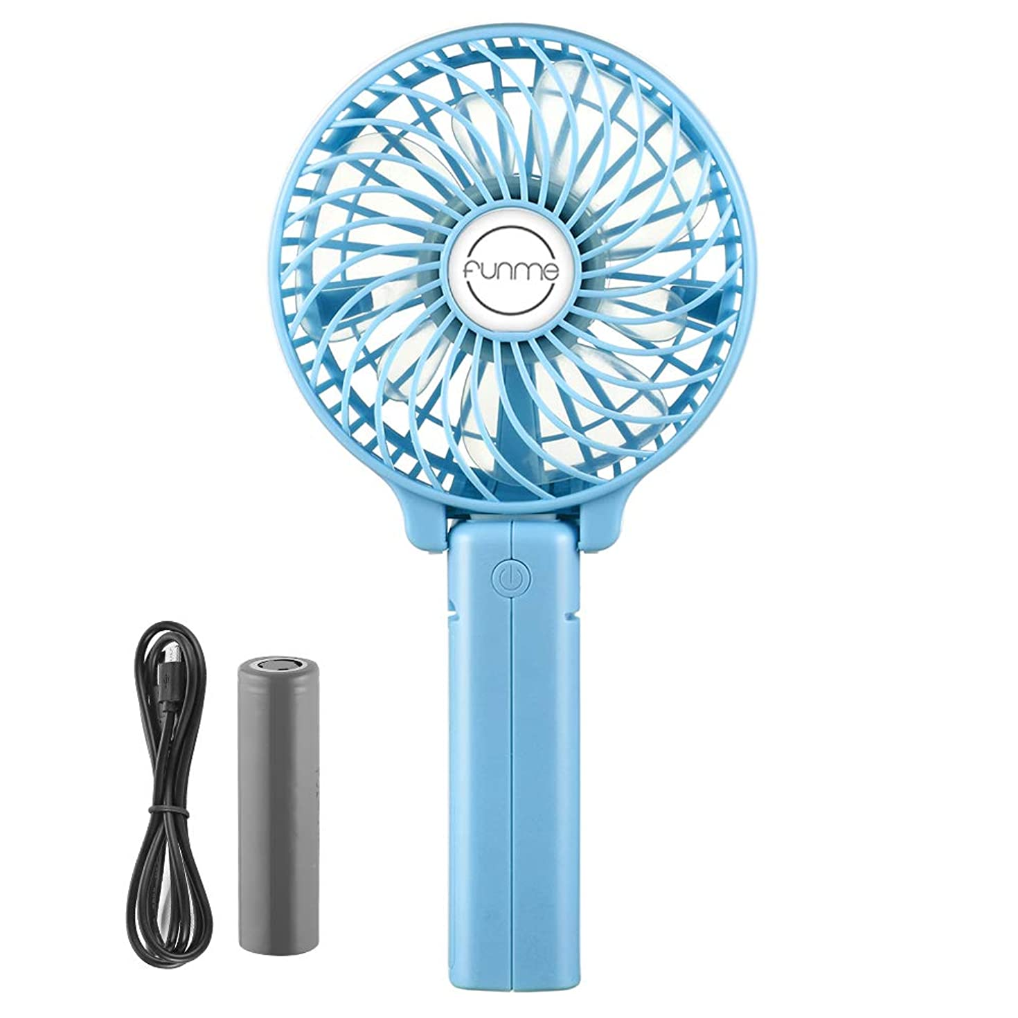 Funme Mini Handheld Fan Portable Foldable USB Rechargeable LG 2600mAh Battery Operated Electric Fan Personal Desktop Cooling Fan with 3 Speed for Office/Home/Travel/Outdoor-Blue