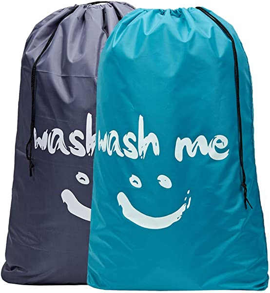 HOMEST 2 Pack Wash Me 旅行洗衣袋 28x 40 英寸 Rip Stop 尼龙重型脏衣袋带拉绳可机洗防异味浅蓝色和灰色