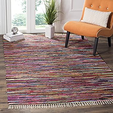 Safavieh Rag Rug Collection RAR128G Hand Woven Multi Cotton Area Rug (5' x 8')