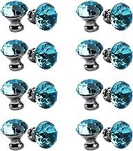30mm kristallen handvat, meerkleurige kristallen knop 16PCS, meubelladeknop, garderobedeur enkel gat handvat-Lichtblauw