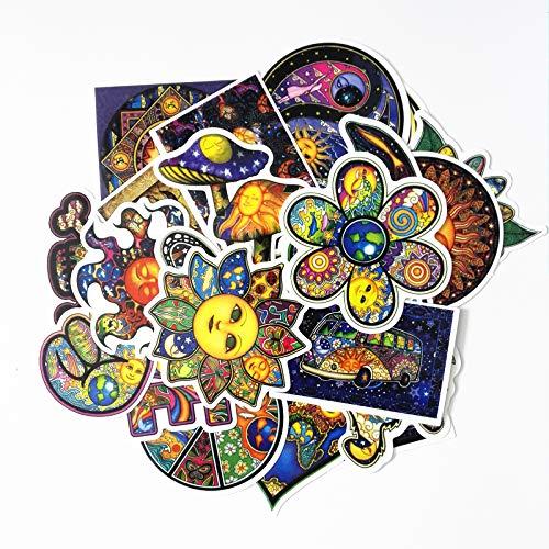 Kleurrijke waterdichte Sun Moon Wishing World Peace stickers voor snowboard laptop bagage fietsen rugzak 25 stuks/los