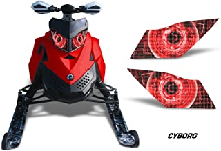 AMR Racing Sled Headlight Eye Graphic Decal Cover for Ski Doo Rev XP Summit - Cyborg Red
