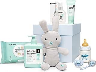 Suavinex - Canastilla para recién nacido. canastilla de regalo para bebé de 0-6 meses. incluye Baby cologne Toallitas Crema Pañal Gel-champú Syndey Biberón 150ml Chupete y broche Color Azul