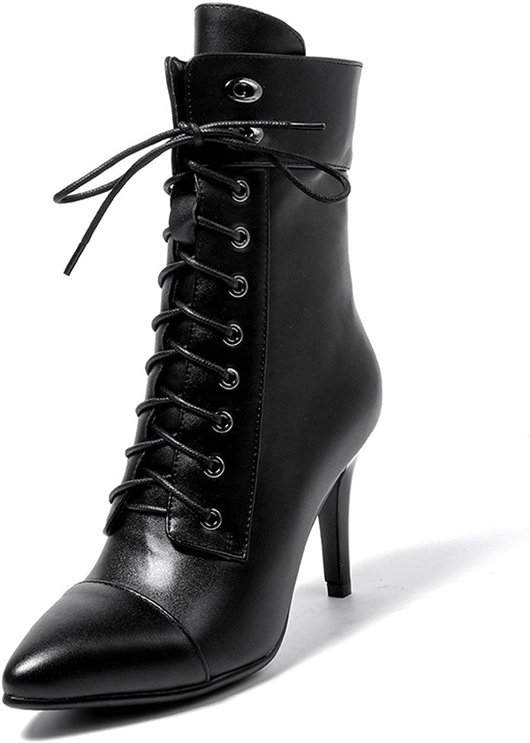 Nine Seven Cow Leather Women's Pointed Toe Stiletto Heel Classic Lace Up Handmade Dress Mid Calf Boots