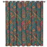 FAMILYDECOR - Cortinas opacas para ventana, diseño floral de palacio, aislamiento térmico, para sala de estar, cocina, baño
