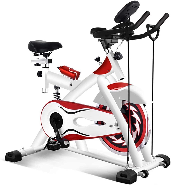 高齢者用エクササイズバイク、室内スピニングバイク自転車サイクルトレーナーパルスモニター、調節可能シート,赤