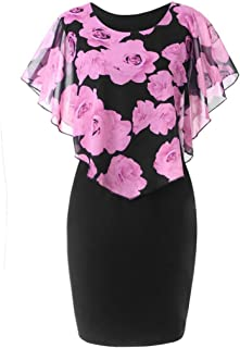 dc761d577b FORUU Dresses for Women Plus Size Casual Rose Print Chiffon O-Neck Ruffles  Mini