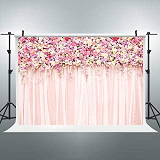 Riyidecor Bridal Floral Wall Backdrop Romantic Rose Flower Photography Background Pink and White Carpet 7Wx5H Feet Decoration Wedding Props Party Photo Shoot Backdrop Blush Vinyl Cloth