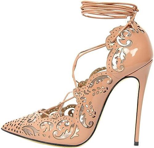 Qiusa Strappy Pumps Femmes à à Lacets Chaussures Stiletto à Bout Pointu de Grande Taille (Couleuré   Beige, Taille   EU 37)  livraison gratuite
