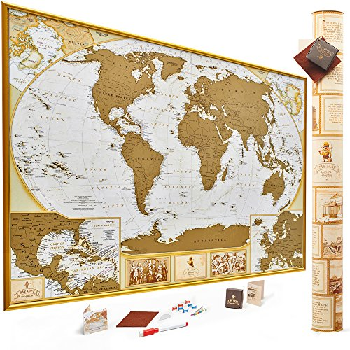 Antique Edition Gold Scratch Off World Map, Very Detailed -10.000 Cities Big Size-35x25 Inches, US...