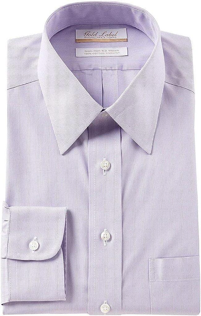 Gold Label Roundtree & Yorke Non-Iron Regular Big Tall Point Collar Stripe Dress Shirt S85DG014 Light Purple