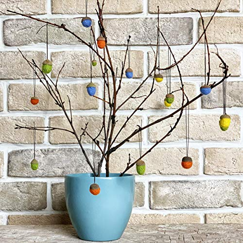 Felt acorn ornaments, Fall farmhouse decoration, Christmas tree hanging decor