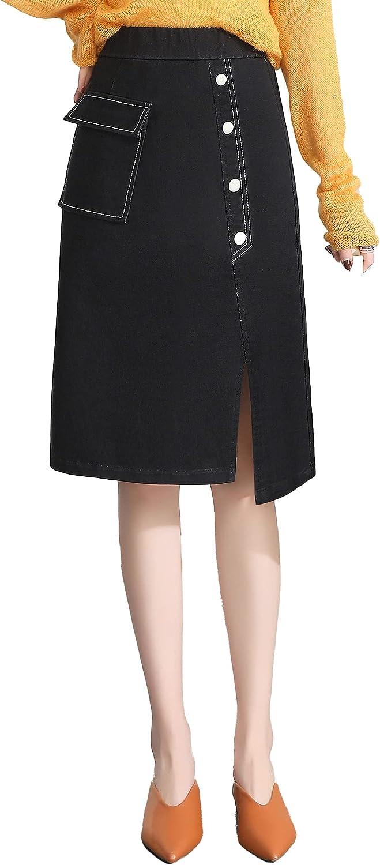 ATHX Women Denim Midi Skirt Asymmetrical Straight Split Knee Length Jean Skirt with Pocket