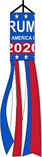 Shmbada 36 Inch American President Donald Trump Make Keep America Great Again 2020 Windsock Outdoor Hanging - US Election Patriotic Outdoor Decor Banner Flag for Yard Garden Lawn