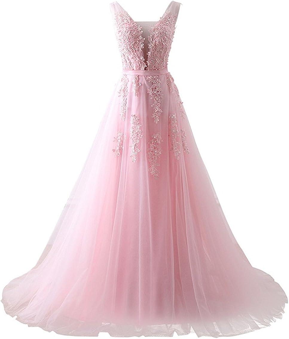 SHANGSHANGXI Deep V Neck Tulle Formal Evening Dresses Lace Applique Low Back Prom Dresses