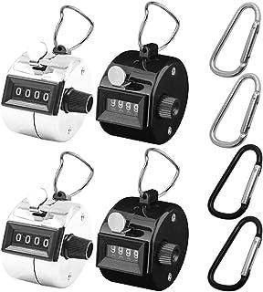 4個パック カウンター 手掌用(4桁) &4個カラビナ, AFUNTAデジタル 数取器フック/リング 付き- シルバー&ブラック