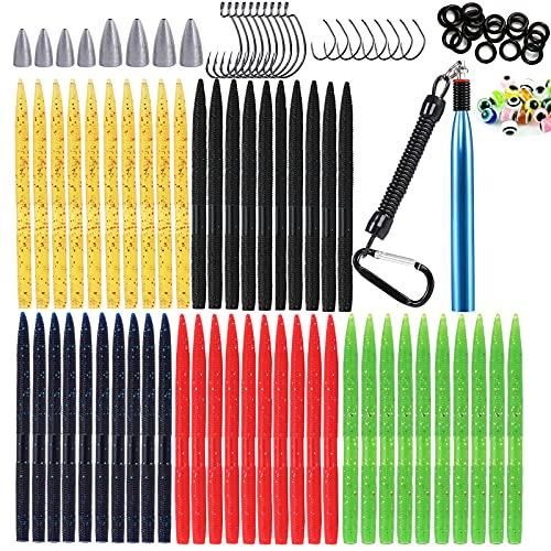 129 PCS Bass Fishing Kit 5.5'' Wacky Senko Worms Soft Wacky Rig Plastic Stick Baits (129 pcs Fishing Worm Kit)