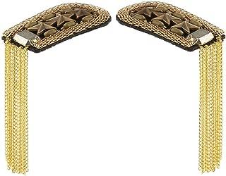 2pcs Shoulder Epaulets Fringe Shoulder Pieces Tassel Link Chain Shoulder Boards Badge Uniform Accessories for Women Men - Golden