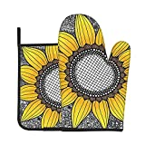 Funny Oven Mitt and Pot Holders Set Sunflower and Black White Flowers Soft Flexible Oven Gloves Heat Resistant Kitchen Cooking Mitts Grilling Gadgets to Protect Hands Surfaces for Men Women