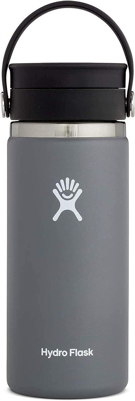 Hydro Flask Termo de café de viaje de 473ml (16 oz), acero inoxidable y doble pared al vacío, boca ancha con tapa Flex Sip™ hermética, Stone