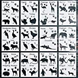 12 Pack Animal Stencils for Painting on Wood, Reusable Cute Animal Stencil Painting Templates for Painting on Wood, DIY Art Craft Projects