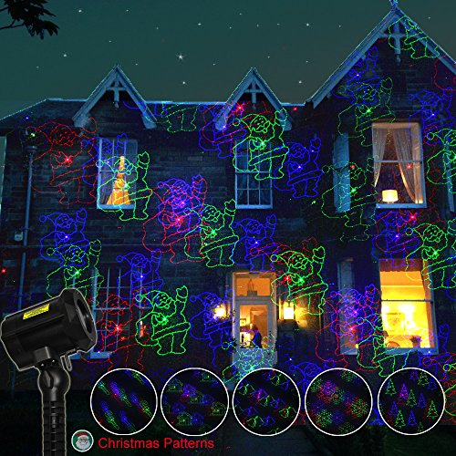 Poeland Garden Laser Lights Projector 18 Festive Designs for Christmas, Halloween Blue Green Red 3 Color with Security Lock, Remote Timer