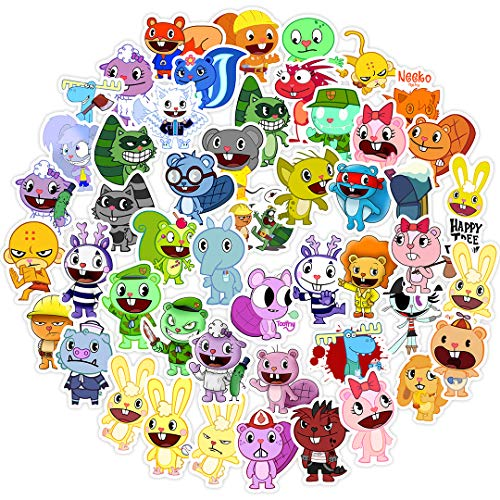 ZXXC 50Pcs Anime Happytree Friends Happy Tree Cartoon Animal Impermeabile Bagagli Scatola da Pesca Skateboard Sticker