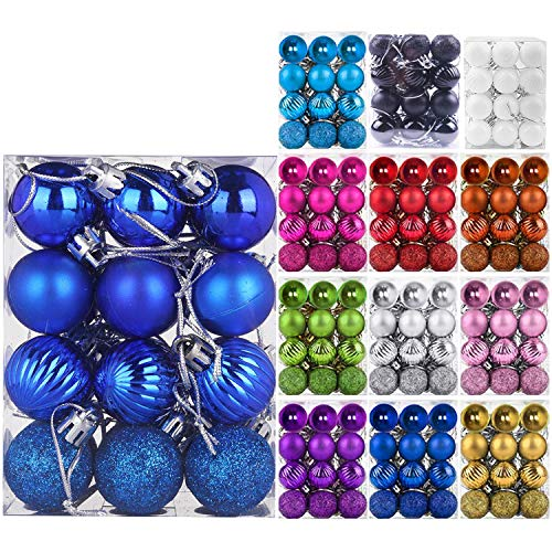 """Emopeak 24Pcs Christmas Balls Ornaments for Xmas Christmas Tree - 4 Style Shatterproof Christmas Tree Decorations Hanging Ball for Holiday Wedding Party Decoration (Navy Blue, 1.3""""/3.2CM)"""