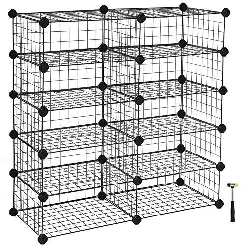 SONGMICS メタルラック シューズラック 組立簡単 DIY可能 10ラック 40×30×17cm 耐荷重:ラックあたり10kg 収納棚 オープンラック ディスプレイラック ワードローブ おしゃれ ブラック NLPI25H