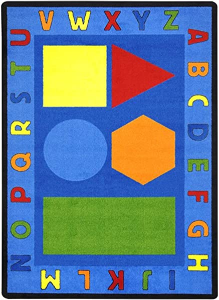 Joy Carpets Kid Essentials Early Childhood Alphabet Shapes Rug Multicolored 5 4 X 7 8