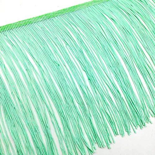 AUBERSIT Borla de Flecos de Encaje de 50 cm de Largo, Recorte de Flecos de Cinta de Encaje de 15 cm de Ancho, Accesorios de Ropa de Escenario de Vestido Latino DIY, Verde Menta