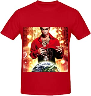 Prince Planet Earth Men Crew Neck Short Sleeve T Shirts Red
