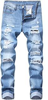 Sponsored Ad - LZLER Mens Ripped Jeans,Distressed Destroyed Slim Fit Straight Leg Denim Pant with Holes