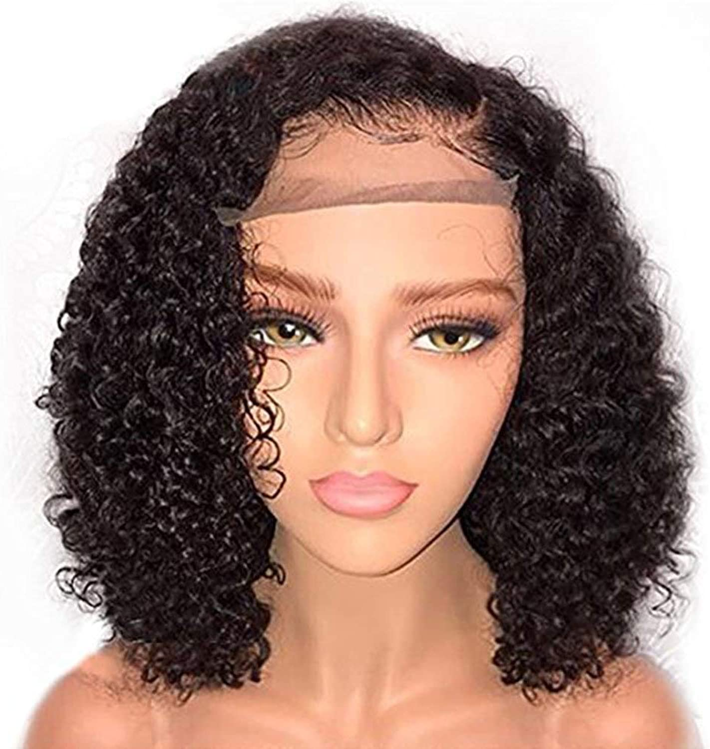 Short Curly Kinky Wigs for Black Women Fluffy Wavy Black Synthetic Hair Wig Natural Looking Wigs Heat Resistant Wigs with Wig Cap 14''
