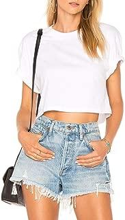 Women's Basic Short Sleeve Scoop Neck Casual Crop Top T-Shirt 71802