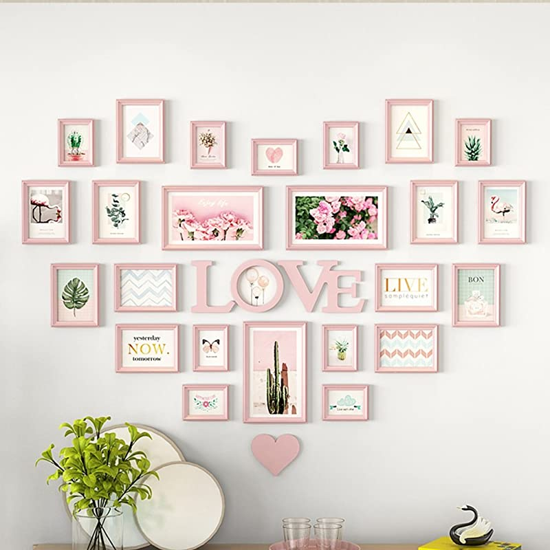AXZPQ Wall Hanging Photo Frame Heart Shaped LOVE Collection Simple Modern Living Room Bedroom Picture Combination Color G