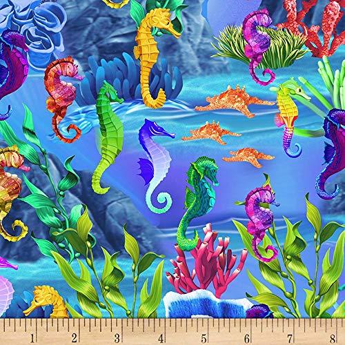 Timeless Treasures 0561334 Life Seahorses Sea Fabric by The Yard
