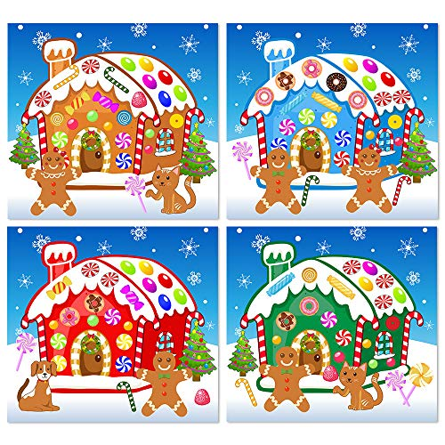 Omgouue Make-A-Gingerbread House Stickers Christmas Party Game/Craft/Activity/Favor/Supplies for kids16pcs