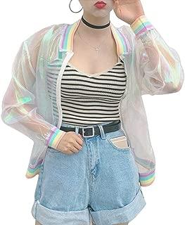 angel3292 Iridescent Transparent Jacket Holography Rainbow Sheer Tumblr Grunge 90s