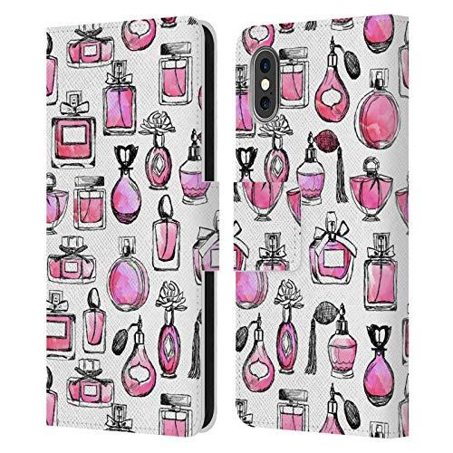 Head Case Designs Licenciado Oficialmente Andrea Lauren Design Perfumes Lady Like Carcasa de Cuero Tipo Libro Compatible con Apple iPhone X/iPhone XS