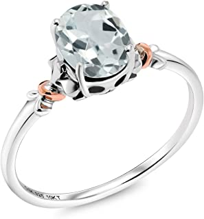 925 Sterling Silver and 10K Rose Gold Ring Oval Sky Blue Aquamarine (0.72 Cttw Gemstone Birthstone Available 5,6,7,8,9)