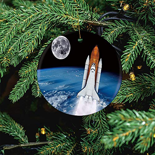 ALUONI Space Shuttle Rocket Launch Earth Spaceship Christmas Ornaments 2020 Christmas Ceramic Pendant Personalized Creative Christmas Decorations Double Sided Christmas Tree Ornament SW36419 1PCS