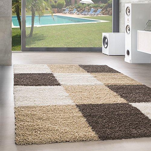 Unbekannt Shaggy Hochflor Langflor Teppich Wohnzimmer Carpet Farben & Formen Karo Kariert!, Farbe:Mocca, Größe:200x290 cm