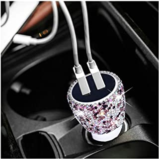 Dual USB Car Charger Bling Bling Rhinestones Crystal Car Decorations for Fast Charging Car Decors for iPhone, iPad Pro/Air 2/Mini, Samsung Galaxy Note9/8/S9/S9+,LG, Nexus, HTC, etc