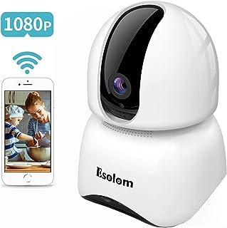 Cámara de Vigilancia ESOLOM Cámara IP 1080P Cámara de Vigilancia WiFi Interior 360 HD Monitoreo Nocturno Audio Bidireccional Alarma de Telefono Movil Bebe/Viejo Hombre/Mascota