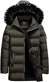 Balakie Mens Down Coat Winter Warm Bubble Pocket Zipper Black Faux Fur Hood Jacket