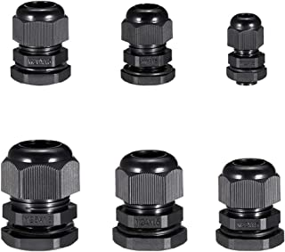 uxcell M12 M18 M20 M22 M24 M25 Waterproof IP68 Nylon Cable Gland Joint Adjustable Locknut for 3mm-18mm Dia Cable Wire, Pack of 30