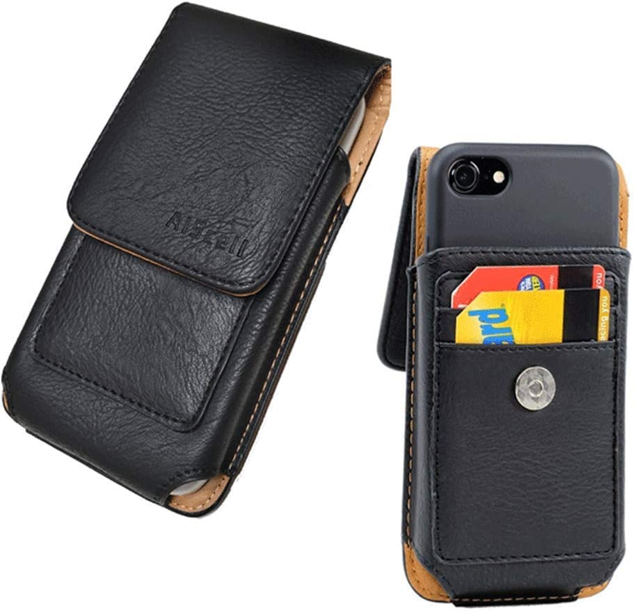 AISCELL Vertical Black Leather Pouch Credit Card Wallet Swivel Belt Clip Holster Pouch Case Work with KEYone, Key2, Priv V