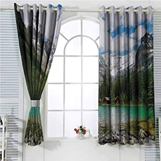 hengshu Landscape Rustic Curtains for Living Room Canada Ohara Lake Yoho National Park with Mountains Nature Scenery Art Photo Living Room Decor Blackout Shades W96 x L107 Inch Multicolor