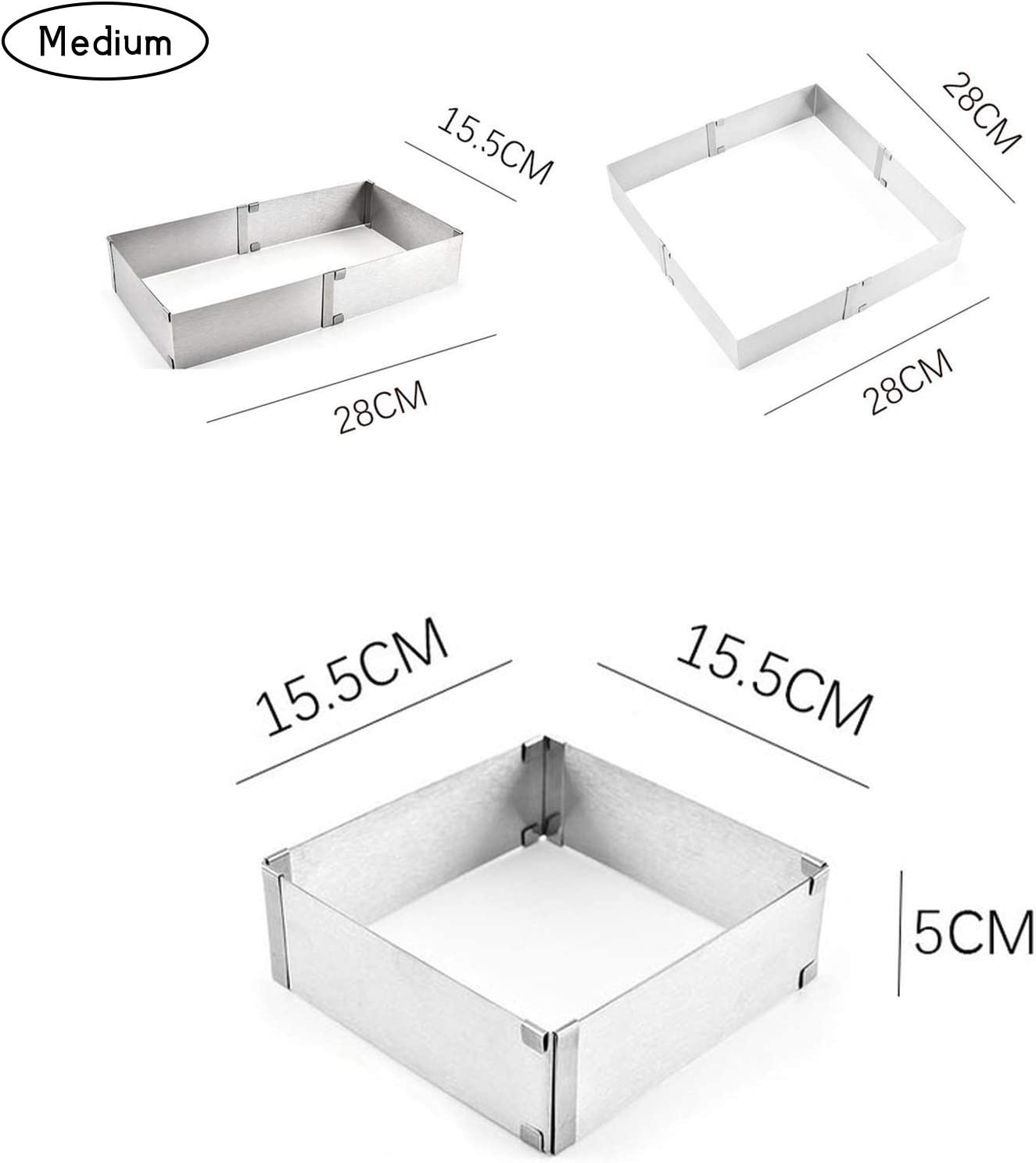 fuguzhu Cake Rings Stainless Steel Adjustable Square Mousse Mold Cake Tin Ideal for Wedding Cake Mould Set and Dessert Mould M